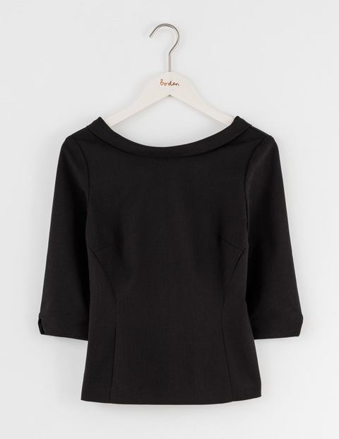 Mia Top Black Women, Black - neckline: slash/boat neckline; pattern: plain; predominant colour: black; occasions: casual, creative work; length: standard; style: top; fibres: cotton - stretch; fit: body skimming; sleeve length: 3/4 length; sleeve style: standard; pattern type: fabric; texture group: woven light midweight; wardrobe: basic; season: a/w 2016