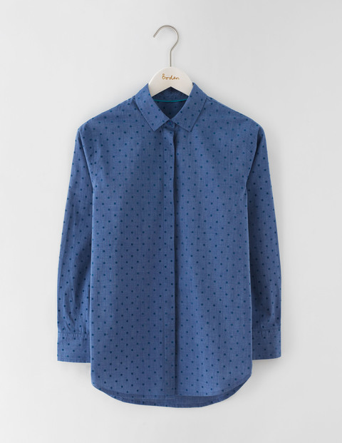 The Girl Fit Shirt Blue Flock Spot Women, Blue Flock Spot - neckline: shirt collar/peter pan/zip with opening; length: below the bottom; style: shirt; pattern: polka dot; predominant colour: royal blue; occasions: casual, creative work; fibres: cotton - 100%; fit: straight cut; sleeve length: long sleeve; sleeve style: standard; texture group: cotton feel fabrics; pattern type: fabric; pattern size: light/subtle; season: a/w 2016; wardrobe: highlight