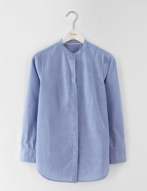 The Collarless Girl Fit Shirt Blue End On End Women, Blue End On End - pattern: plain; length: below the bottom; style: shirt; predominant colour: denim; occasions: casual, creative work; neckline: collarstand; fibres: cotton - 100%; fit: straight cut; sleeve length: long sleeve; sleeve style: standard; texture group: cotton feel fabrics; pattern type: fabric; pattern size: standard; season: a/w 2016; wardrobe: highlight