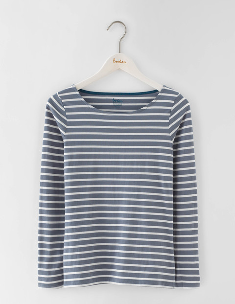 Long Sleeve Breton Thunder/Ivory Women, Thunder/Ivory - neckline: slash/boat neckline; pattern: horizontal stripes; secondary colour: ivory/cream; predominant colour: denim; occasions: casual, creative work; length: standard; style: top; fibres: cotton - 100%; fit: body skimming; sleeve length: 3/4 length; sleeve style: standard; pattern type: fabric; pattern size: standard; texture group: jersey - stretchy/drapey; season: a/w 2016