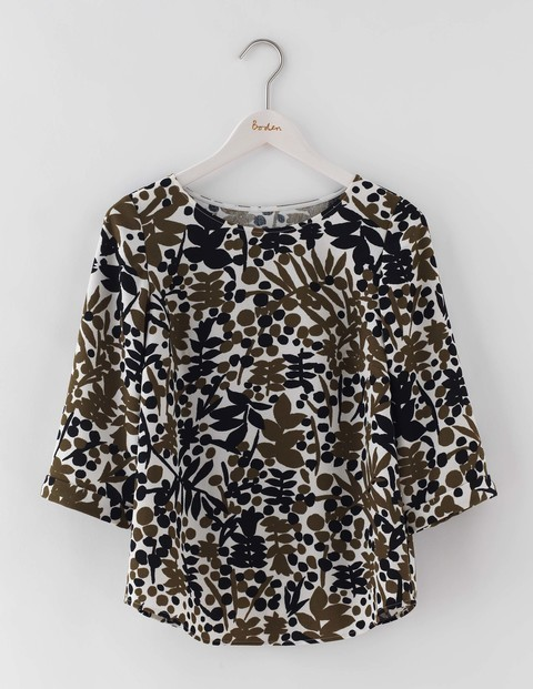 Rachel Top Basil Stamp Floral Women, Basil Stamp Floral - neckline: slash/boat neckline; length: below the bottom; secondary colour: ivory/cream; predominant colour: khaki; occasions: casual, creative work; style: top; fibres: polyester/polyamide - 100%; fit: body skimming; sleeve length: 3/4 length; sleeve style: standard; pattern type: fabric; pattern size: standard; pattern: patterned/print; texture group: woven light midweight; multicoloured: multicoloured; season: a/w 2016