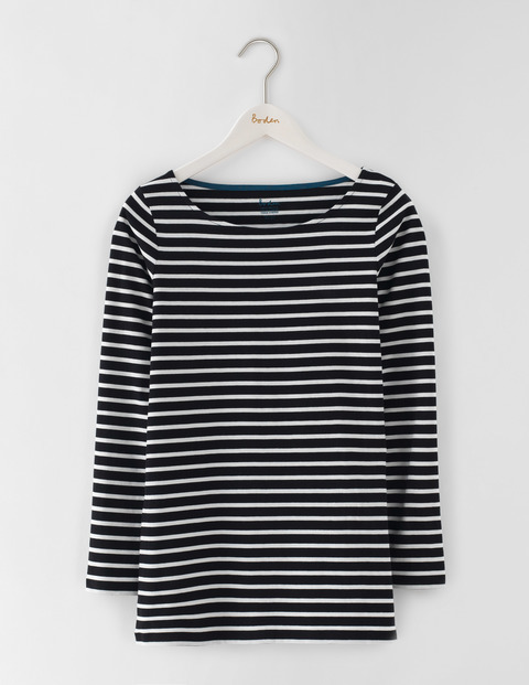 Long Length Long Sleeve Breton Black/Ivory Women, Black/Ivory - neckline: slash/boat neckline; pattern: horizontal stripes; length: below the bottom; secondary colour: ivory/cream; predominant colour: black; occasions: casual, creative work; style: top; fibres: cotton - 100%; fit: body skimming; sleeve length: long sleeve; sleeve style: standard; pattern type: fabric; pattern size: standard; texture group: jersey - stretchy/drapey; wardrobe: basic; season: a/w 2016