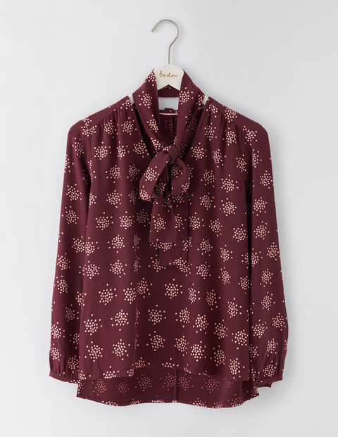 Carla Top Dark Burgundy Confetti Spot Women, Dark Burgundy Confetti Spot - neckline: pussy bow; style: blouse; predominant colour: burgundy; secondary colour: nude; occasions: casual, creative work; length: standard; fibres: viscose/rayon - 100%; fit: loose; sleeve length: long sleeve; sleeve style: standard; pattern type: fabric; pattern size: standard; pattern: patterned/print; texture group: woven light midweight; season: a/w 2016; wardrobe: highlight