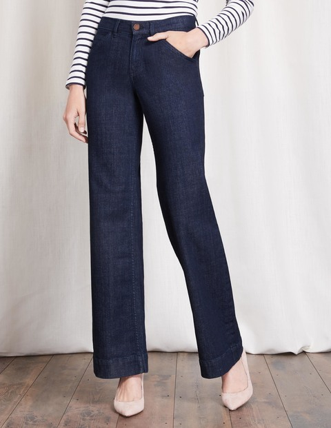 Windsor Wide Leg Jeans Indigo Women, Indigo - length: standard; pattern: plain; waist: high rise; style: wide leg; predominant colour: navy; occasions: casual, creative work; fibres: cotton - stretch; jeans detail: dark wash; texture group: denim; pattern type: fabric; wardrobe: basic; season: a/w 2016