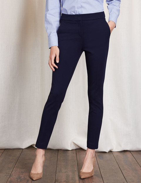 Hampshire 7/8 Trousers Navy Women, Navy - length: standard; pattern: plain; waist: high rise; predominant colour: navy; occasions: work, creative work; fibres: cotton - 100%; waist detail: narrow waistband; fit: skinny/tight leg; pattern type: fabric; texture group: woven light midweight; style: standard; season: a/w 2016