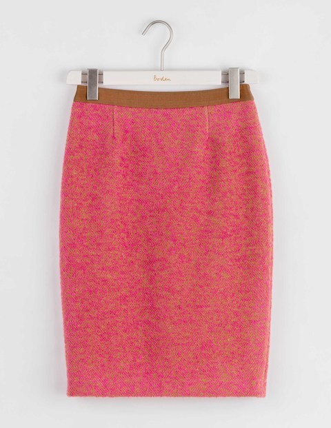 Freya Pencil Skirt Cheek Pink Women, Cheek Pink - style: pencil; fit: body skimming; waist: high rise; pattern: herringbone/tweed; predominant colour: pink; occasions: work; length: just above the knee; fibres: wool - mix; pattern type: fabric; texture group: woven light midweight; pattern size: standard (bottom); season: a/w 2016; wardrobe: highlight