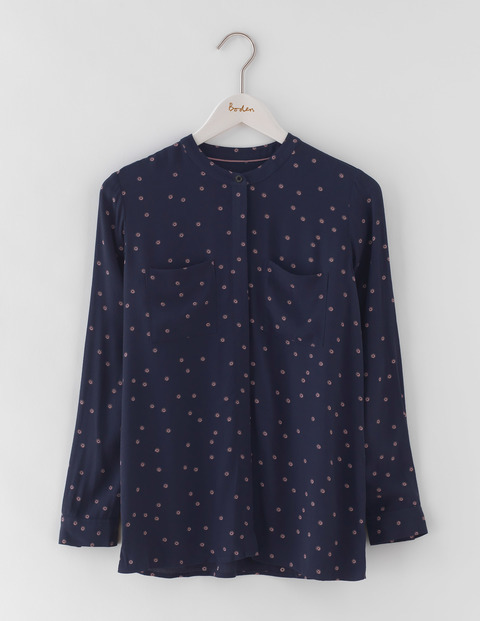 Hayley Shirt Navy Scattered Foulard Spot Women, Navy Scattered Foulard Spot - style: blouse; pattern: polka dot; secondary colour: pink; predominant colour: navy; occasions: casual; length: standard; neckline: collarstand; fibres: viscose/rayon - 100%; fit: body skimming; sleeve length: long sleeve; sleeve style: standard; pattern type: fabric; texture group: woven light midweight; season: a/w 2016; wardrobe: highlight