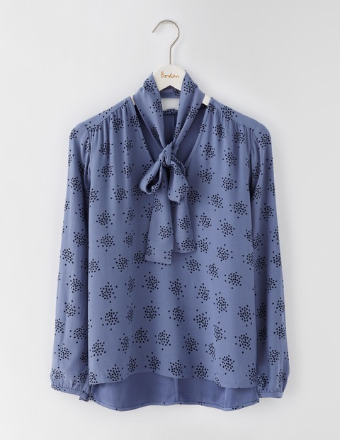 Carla Top English China Confetti Spot Women, English China Confetti Spot - neckline: pussy bow; style: blouse; secondary colour: navy; predominant colour: denim; occasions: casual; length: standard; fibres: viscose/rayon - 100%; fit: body skimming; sleeve length: long sleeve; sleeve style: standard; pattern type: fabric; pattern: patterned/print; texture group: woven light midweight; season: a/w 2016; wardrobe: highlight