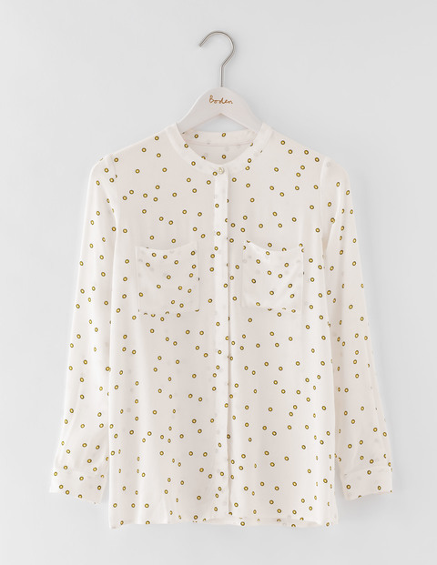 Hayley Shirt Ivory Scattered Foulard Spot Women, Ivory Scattered Foulard Spot - style: blouse; pattern: polka dot; predominant colour: ivory/cream; secondary colour: gold; occasions: casual; length: standard; neckline: collarstand; fibres: viscose/rayon - 100%; fit: body skimming; sleeve length: long sleeve; sleeve style: standard; pattern type: fabric; texture group: woven light midweight; multicoloured: multicoloured; season: a/w 2016; wardrobe: highlight