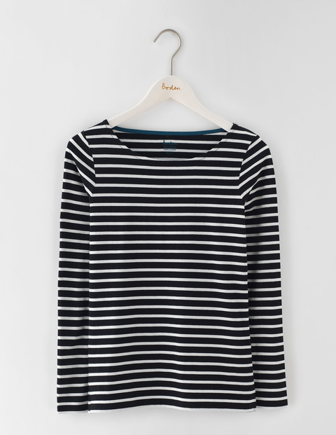 Long Sleeve Breton Black/Ivory Women, Black/Ivory - neckline: round neck; pattern: horizontal stripes; secondary colour: ivory/cream; predominant colour: black; occasions: casual; length: standard; style: top; fibres: cotton - 100%; fit: body skimming; sleeve length: long sleeve; sleeve style: standard; pattern type: fabric; texture group: jersey - stretchy/drapey; multicoloured: multicoloured; wardrobe: basic; season: a/w 2016