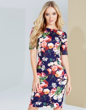 Floral Print Belted Dress - fit: tight; style: bodycon; hip detail: fitted at hip; secondary colour: pink; predominant colour: navy; occasions: evening; length: on the knee; fibres: polyester/polyamide - stretch; neckline: crew; sleeve length: short sleeve; sleeve style: standard; texture group: jersey - clingy; pattern type: fabric; pattern size: big & busy; pattern: florals; multicoloured: multicoloured; season: a/w 2016; wardrobe: event