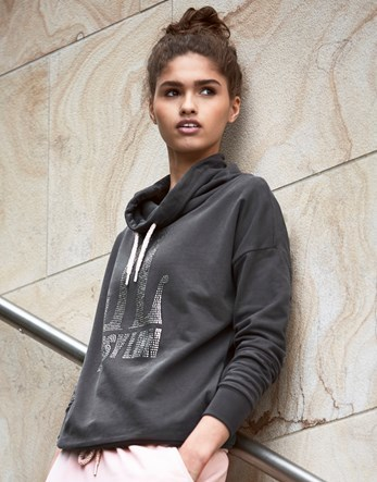 Funnel Neck Hoody - neckline: cowl/draped neck; back detail: hood; style: sweat top; predominant colour: charcoal; occasions: casual, activity; length: standard; fibres: cotton - 100%; fit: loose; sleeve length: long sleeve; sleeve style: standard; pattern type: fabric; pattern size: standard; texture group: jersey - stretchy/drapey; pattern: graphic/slogan; season: a/w 2016