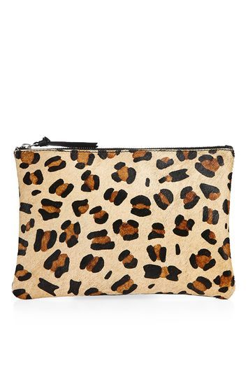 Pony Zip Top Clutch Bag - secondary colour: tan; predominant colour: stone; occasions: evening; type of pattern: standard; style: clutch; length: hand carry; size: small; material: animal skin; pattern: animal print; finish: plain; season: a/w 2016