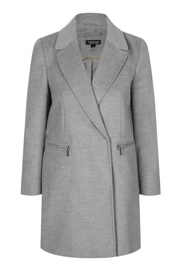 Tall Grey Coat - pattern: plain; style: double breasted military coat; collar: standard lapel/rever collar; length: mid thigh; predominant colour: mid grey; occasions: casual, creative work; fit: tailored/fitted; fibres: polyester/polyamide - stretch; sleeve length: long sleeve; sleeve style: standard; collar break: medium; pattern type: fabric; texture group: woven bulky/heavy; trends: chic girl, pretty girl, tomboy girl; season: a/w 2016