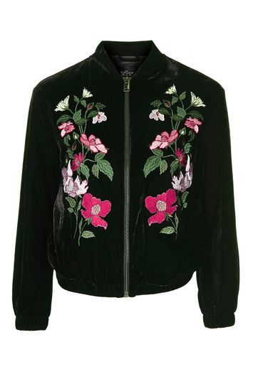 Tall Velvet Embroidered Bomber - collar: round collar/collarless; style: bomber; secondary colour: hot pink; predominant colour: black; occasions: casual, creative work; length: standard; fit: straight cut (boxy); fibres: polyester/polyamide - stretch; sleeve length: long sleeve; sleeve style: standard; collar break: high; pattern type: fabric; pattern size: standard; pattern: florals; texture group: velvet/fabrics with pile; multicoloured: multicoloured; trends: fashion girl, pretty girl, velvet; season: a/w 2016; wardrobe: highlight; embellishment: contrast fabric; embellishment location: back