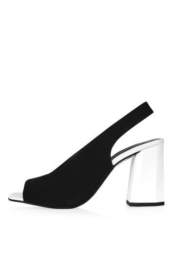 Roxy Facet Heel Sandals - predominant colour: black; occasions: evening; material: suede; heel height: high; heel: block; toe: open toe/peeptoe; style: slingbacks; finish: plain; pattern: plain; season: s/s 2016; wardrobe: event