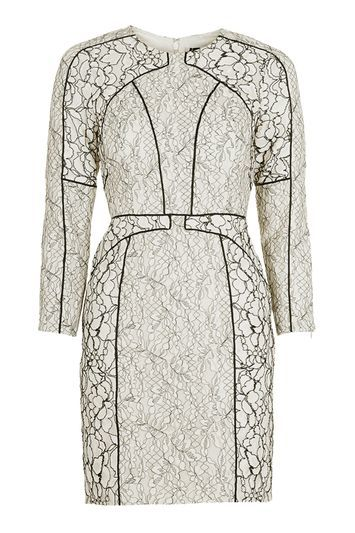 Long Sleeve Contrast Panel Shift Dress - style: shift; length: mini; fit: tailored/fitted; predominant colour: ivory/cream; secondary colour: black; occasions: evening, occasion; fibres: polyester/polyamide - mix; neckline: crew; sleeve length: 3/4 length; sleeve style: standard; texture group: lace; pattern type: fabric; pattern size: standard; pattern: patterned/print; trends: glossy girl; season: a/w 2016; wardrobe: event