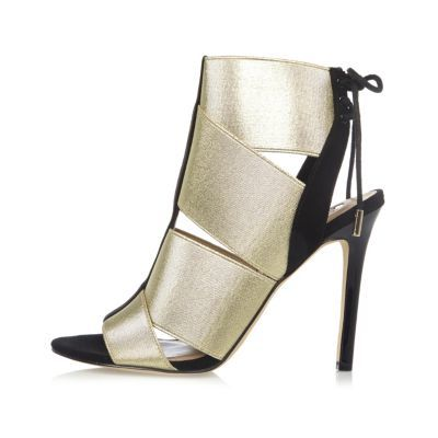 Womens Gold Elastic Strap Shoe Boots - predominant colour: gold; occasions: evening, occasion; material: faux leather; ankle detail: ankle strap; heel: stiletto; toe: open toe/peeptoe; style: strappy; finish: metallic; pattern: plain; heel height: very high; season: a/w 2016; wardrobe: event