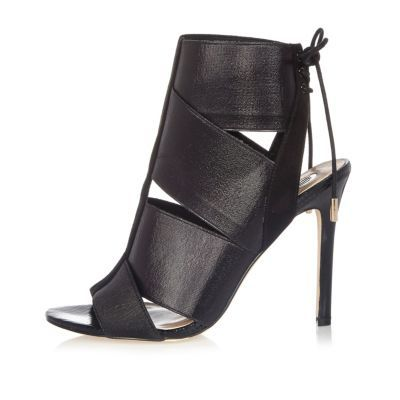 Womens Black Elastic Strap Shoe Boots - predominant colour: black; occasions: evening, occasion; material: faux leather; ankle detail: ankle strap; heel: stiletto; toe: open toe/peeptoe; style: strappy; finish: plain; pattern: plain; heel height: very high; season: a/w 2016; wardrobe: event
