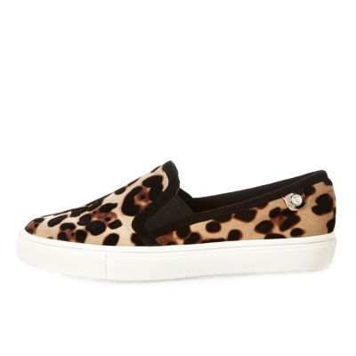 Womens Leopard Print Velvet Plimsolls - predominant colour: camel; secondary colour: black; occasions: casual; material: animal skin; heel height: flat; toe: round toe; finish: plain; pattern: animal print; shoe detail: moulded soul; style: skate shoes; season: a/w 2016; wardrobe: highlight