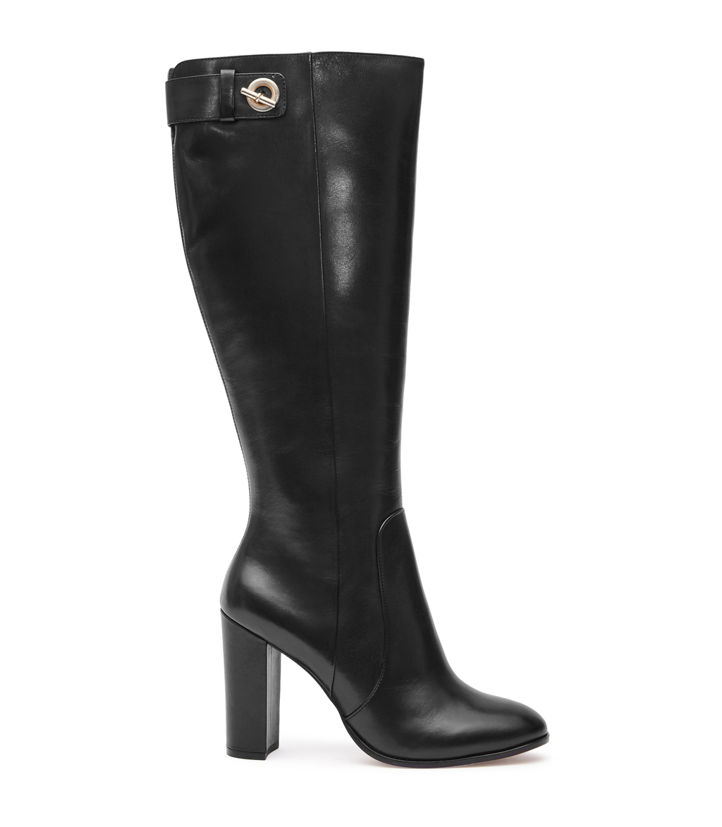 Leon Womens Knee High Boots In Black - predominant colour: black; occasions: casual; material: leather; heel height: high; heel: block; toe: round toe; boot length: knee; style: standard; finish: plain; pattern: plain; season: a/w 2016