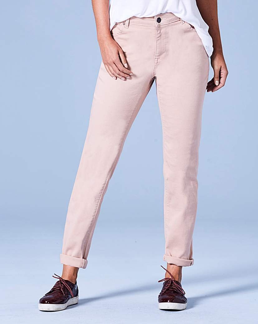 Sadie Dusky Pink Relaxed Jeans Reg - length: standard; pattern: plain; pocket detail: traditional 5 pocket; waist: mid/regular rise; style: tapered; predominant colour: blush; occasions: casual; fibres: cotton - stretch; texture group: denim; pattern type: fabric; season: a/w 2016; wardrobe: highlight