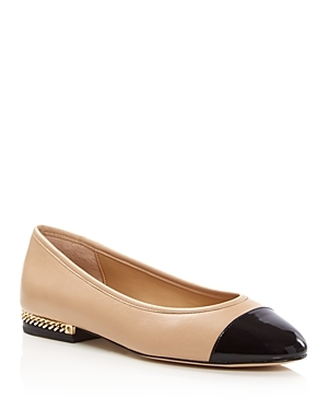 Sabrina Ballet Flats - secondary colour: navy; predominant colour: nude; occasions: casual, creative work; material: leather; heel height: flat; toe: round toe; style: ballerinas / pumps; finish: plain; pattern: colourblock; season: a/w 2016; wardrobe: highlight