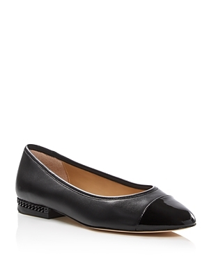 Sabrina Ballet Flats - predominant colour: black; occasions: casual, creative work; material: leather; heel height: flat; toe: pointed toe; style: ballerinas / pumps; finish: plain; pattern: plain; wardrobe: basic; season: a/w 2016