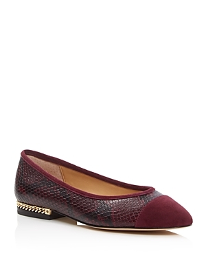 Sabrina Snake Embossed Ballet Flats - predominant colour: burgundy; occasions: casual, creative work; material: leather; heel height: flat; toe: pointed toe; style: ballerinas / pumps; finish: plain; pattern: plain; season: a/w 2016; wardrobe: highlight