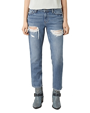 April Distressed Cigarette Jeans In Washed Indigo - style: straight leg; length: standard; pattern: plain; pocket detail: traditional 5 pocket; waist: mid/regular rise; predominant colour: denim; occasions: casual; fibres: cotton - stretch; jeans detail: whiskering, rips; texture group: denim; pattern type: fabric; wardrobe: basic; season: a/w 2016