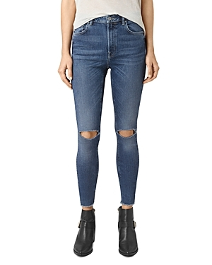 Stilt Skinny Ankle Jeans In Dark Indigo - style: skinny leg; length: standard; pattern: plain; pocket detail: traditional 5 pocket; waist: mid/regular rise; predominant colour: navy; occasions: casual; fibres: cotton - stretch; texture group: denim; pattern type: fabric; jeans detail: rips; wardrobe: basic; season: a/w 2016