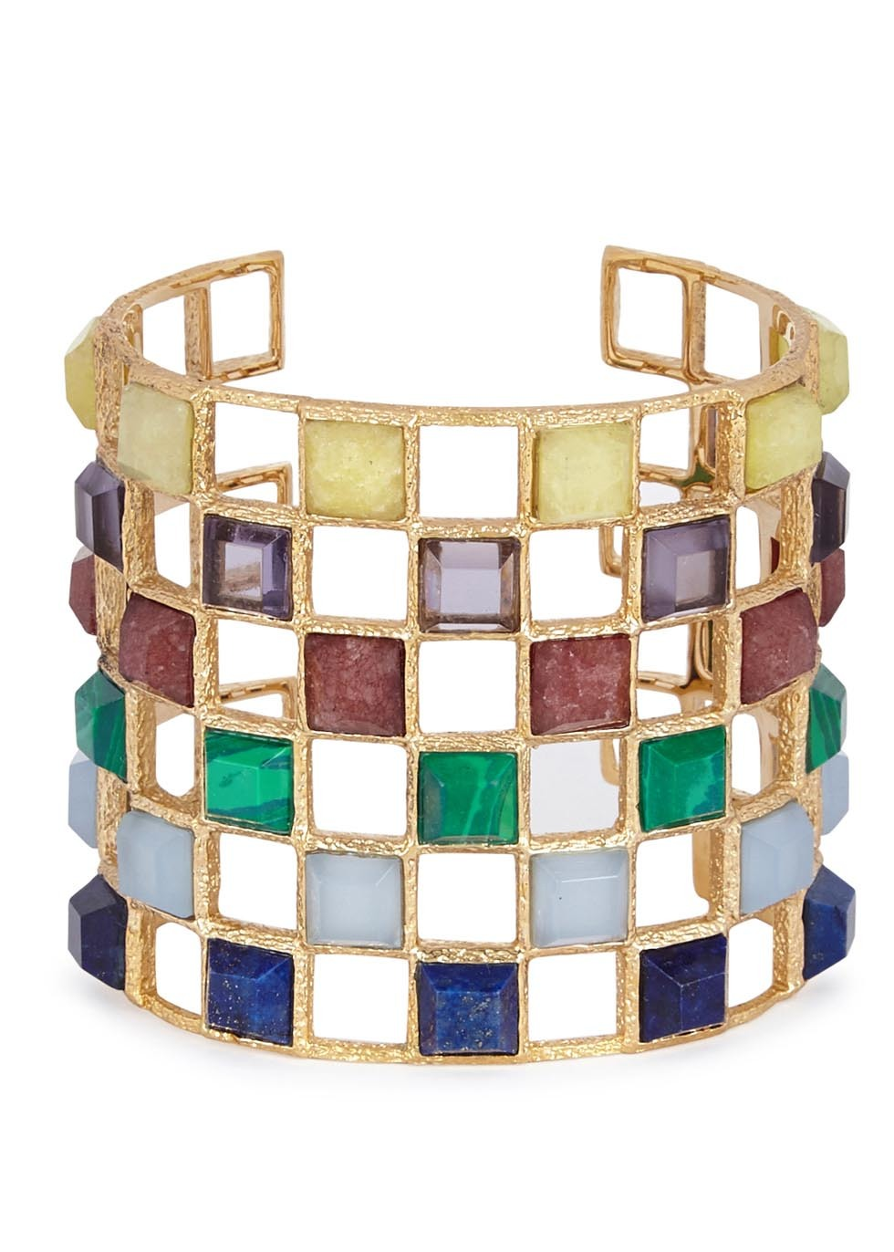 Abstract Mughal Lattice Gold Plated Bracelet - predominant colour: gold; occasions: evening, occasion, creative work; style: cuff; size: large/oversized; material: chain/metal; finish: metallic; embellishment: beading; multicoloured: multicoloured; season: a/w 2016; wardrobe: highlight