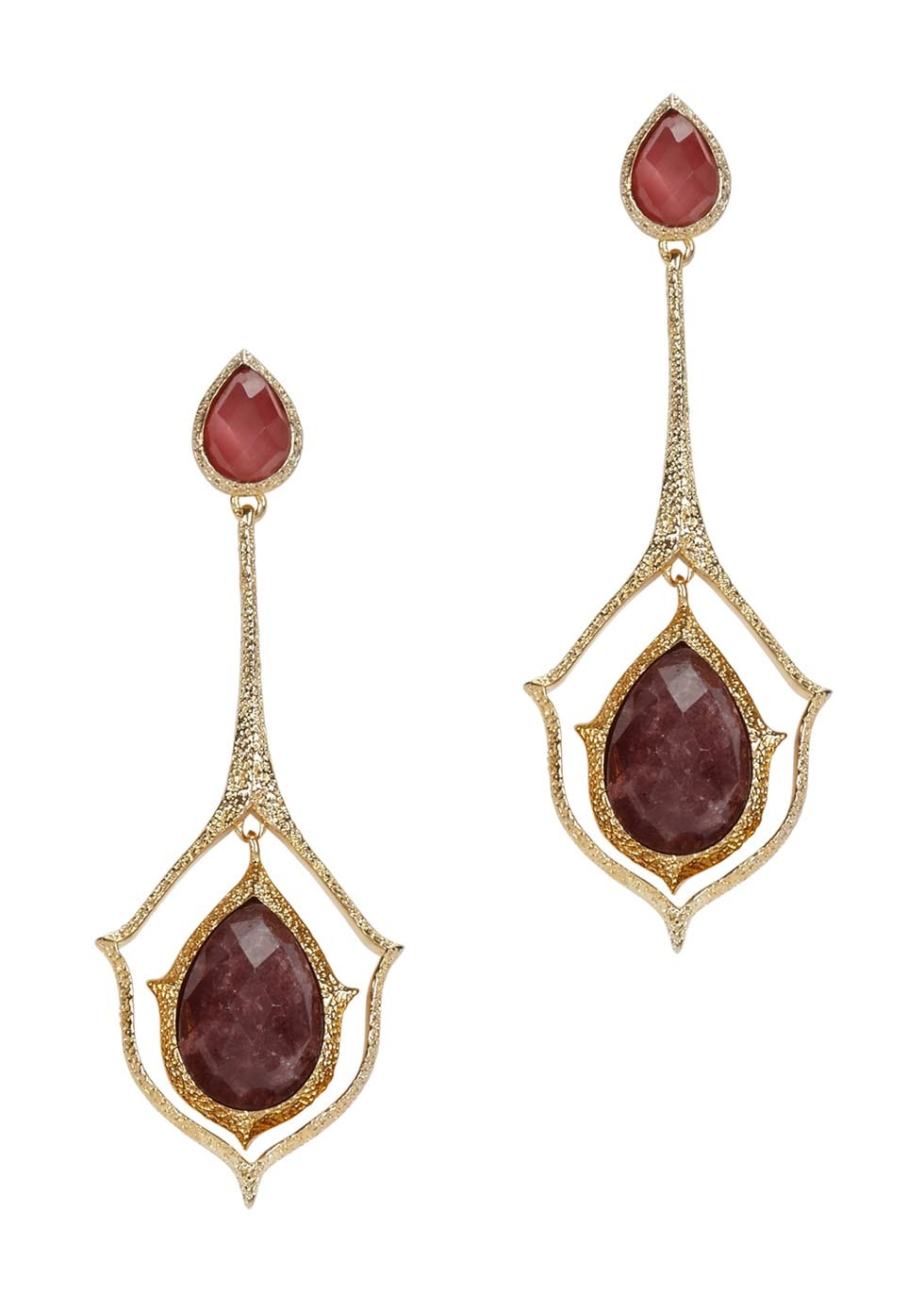 Abstract Mughal Gold Plated Drop Earrings - secondary colour: burgundy; predominant colour: gold; occasions: evening, occasion; style: drop; length: long; size: standard; material: chain/metal; fastening: pierced; finish: metallic; embellishment: jewels/stone; season: a/w 2016; wardrobe: event
