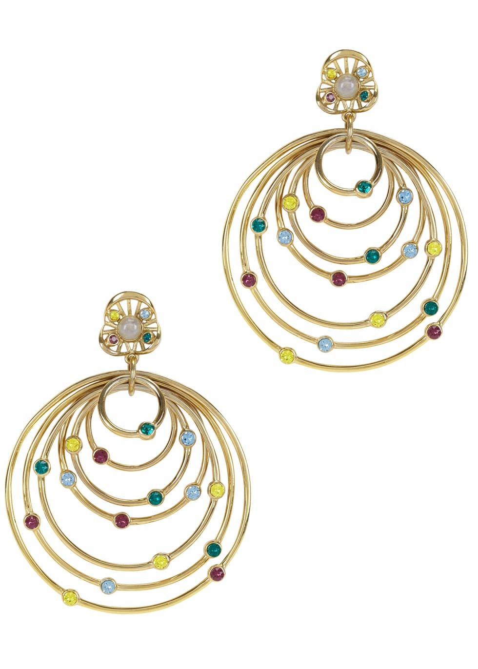 Serpent Orb Allure Gold Plated Earrings - predominant colour: gold; occasions: evening, occasion, creative work; style: hoop; length: mid; size: large/oversized; material: chain/metal; fastening: pierced; finish: metallic; embellishment: jewels/stone; season: a/w 2016