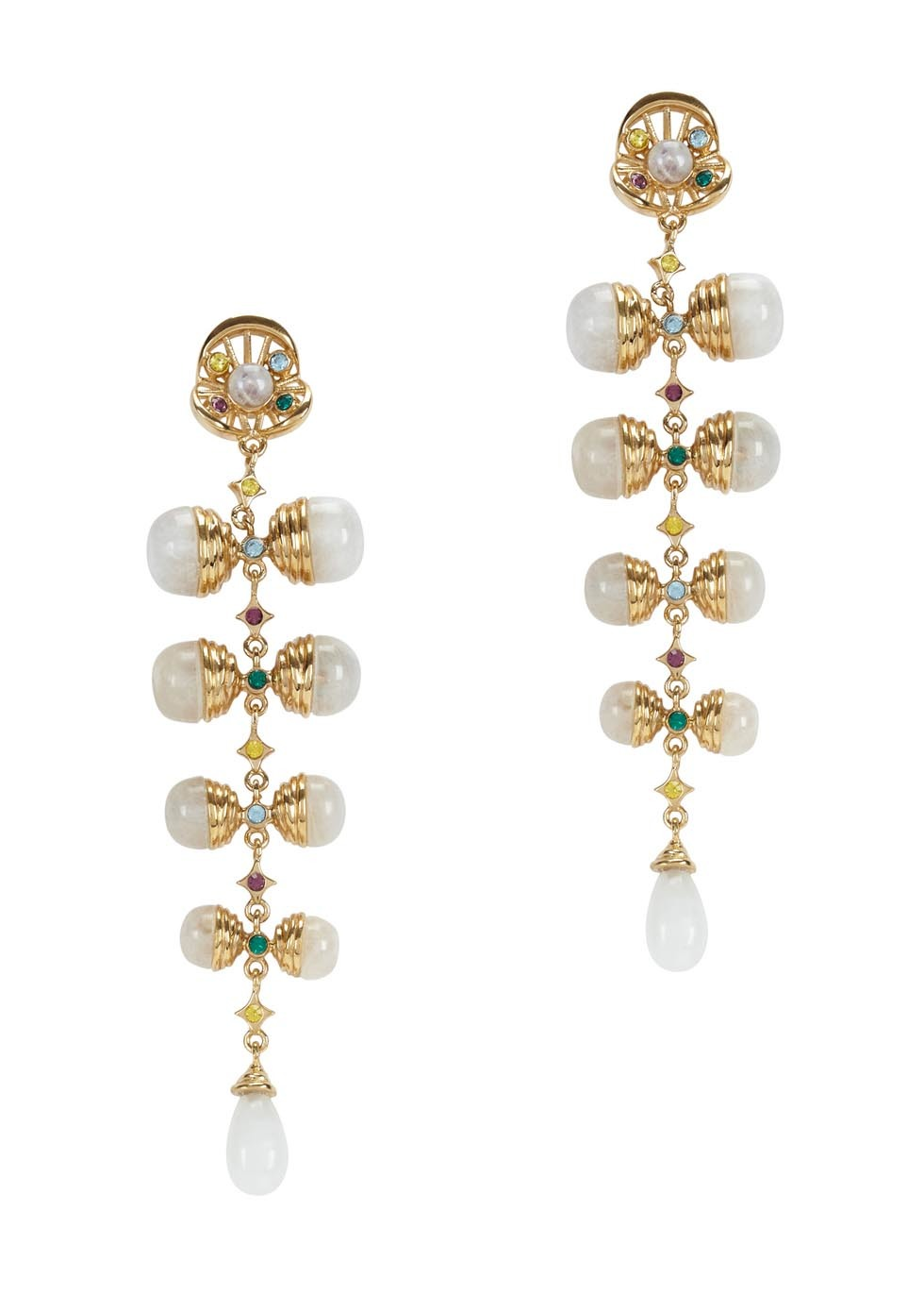 Serpent Orb Gold Plated Drop Earrings - predominant colour: gold; occasions: evening, occasion; style: drop; length: long; size: large/oversized; material: chain/metal; fastening: pierced; finish: metallic; embellishment: pearls; season: a/w 2016; wardrobe: event
