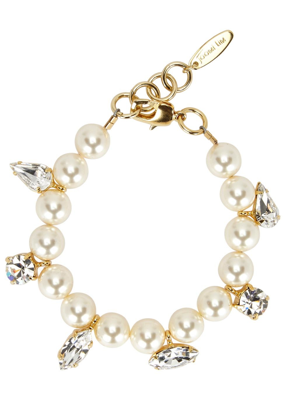 Swarovski Faux Pearl Embellished Bracelet - secondary colour: ivory/cream; predominant colour: gold; occasions: evening, occasion; style: charm; size: standard; material: chain/metal; finish: metallic; embellishment: pearls; season: a/w 2016; wardrobe: event