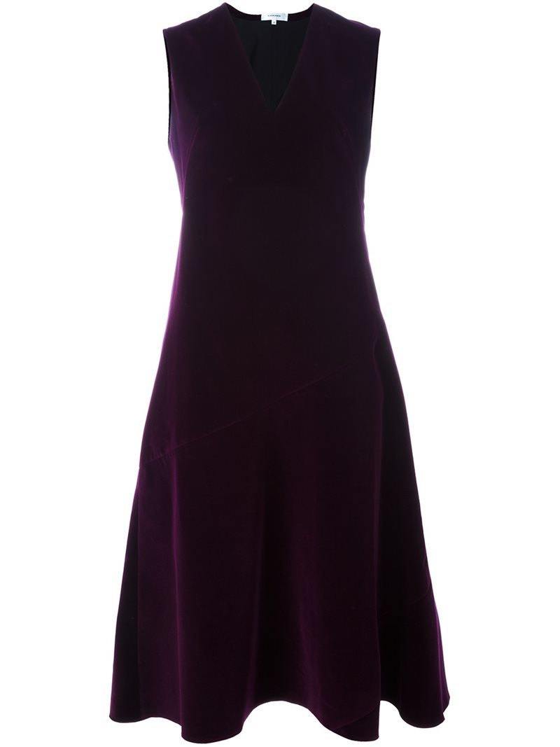 Velvet Dress, Women's, Pink/Purple - pattern: plain; sleeve style: sleeveless; predominant colour: purple; occasions: evening; length: on the knee; fit: fitted at waist & bust; style: fit & flare; fibres: cotton - 100%; neckline: crew; sleeve length: sleeveless; pattern type: fabric; texture group: velvet/fabrics with pile; season: a/w 2016; wardrobe: event