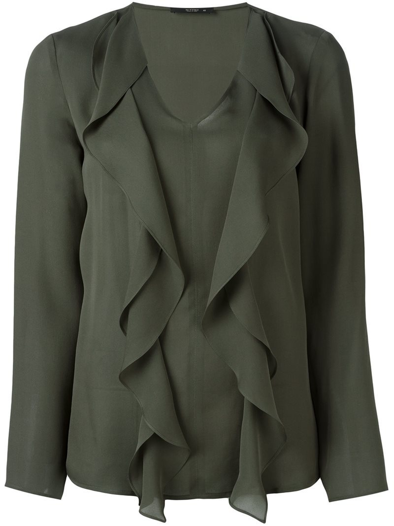 Ruffled Blouse, Women's, Green - neckline: v-neck; pattern: plain; style: blouse; predominant colour: khaki; occasions: evening; length: standard; fibres: silk - 100%; fit: body skimming; sleeve length: long sleeve; sleeve style: standard; texture group: silky - light; bust detail: tiers/frills/bulky drapes/pleats; pattern type: fabric; season: a/w 2016