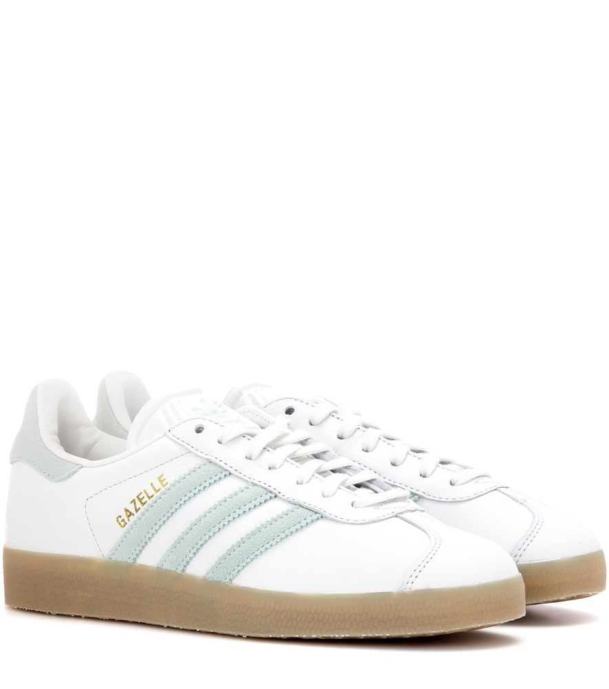 Gazelle Leather Sneakers - predominant colour: white; occasions: casual; material: leather; heel height: flat; toe: round toe; style: trainers; finish: plain; pattern: plain; wardrobe: basic; season: a/w 2016