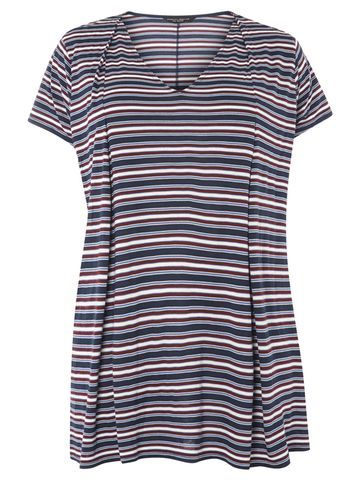 Womens **Dp Curve Berry Stripe Frill Hem Tee Multi Colour - neckline: v-neck; pattern: horizontal stripes; style: t-shirt; secondary colour: white; predominant colour: navy; occasions: casual; length: standard; fibres: viscose/rayon - 100%; fit: body skimming; sleeve length: short sleeve; sleeve style: standard; pattern type: fabric; texture group: jersey - stretchy/drapey; multicoloured: multicoloured; wardrobe: basic; season: a/w 2016