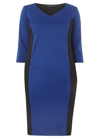Womens **Dp Curve Cobalt And Black Colourblock Dress Cobalt - style: shift; neckline: v-neck; predominant colour: royal blue; secondary colour: black; occasions: evening; length: just above the knee; fit: body skimming; fibres: polyester/polyamide - stretch; sleeve length: half sleeve; sleeve style: standard; pattern type: fabric; pattern: colourblock; texture group: jersey - stretchy/drapey; season: a/w 2016; wardrobe: event