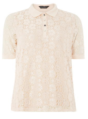 Womens Blush Lace Polo Top Pink - neckline: shirt collar/peter pan/zip with opening; style: polo shirt; predominant colour: blush; occasions: casual; length: standard; fibres: polyester/polyamide - 100%; fit: body skimming; sleeve length: short sleeve; sleeve style: standard; texture group: lace; pattern type: fabric; pattern size: standard; pattern: patterned/print; season: a/w 2016; wardrobe: highlight