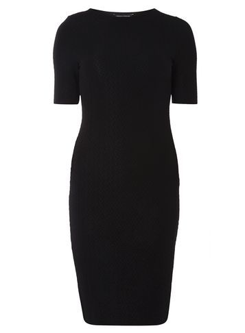 Womens Black Animal Textured Bodycon Dress Black - fit: tight; pattern: plain; style: bodycon; predominant colour: black; occasions: evening; length: just above the knee; fibres: polyester/polyamide - stretch; neckline: crew; sleeve length: short sleeve; sleeve style: standard; texture group: jersey - clingy; pattern type: fabric; season: a/w 2016