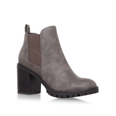 Silent - predominant colour: mid grey; secondary colour: black; occasions: casual, creative work; material: leather; heel height: high; heel: block; toe: round toe; boot length: ankle boot; style: standard; finish: plain; pattern: plain; season: a/w 2016; wardrobe: highlight