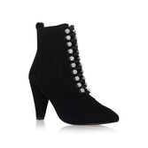 Rapido - predominant colour: black; occasions: casual, creative work; material: suede; heel height: high; heel: cone; toe: pointed toe; boot length: ankle boot; style: standard; finish: plain; pattern: plain; season: a/w 2016; wardrobe: highlight