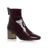 Strudel - predominant colour: burgundy; occasions: casual, creative work; material: leather; heel height: mid; heel: block; toe: round toe; boot length: ankle boot; style: standard; finish: patent; pattern: plain; season: a/w 2016; wardrobe: highlight
