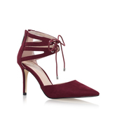 Krisp - predominant colour: true red; occasions: evening, occasion; material: suede; heel height: high; ankle detail: ankle tie; heel: stiletto; toe: pointed toe; style: courts; finish: plain; pattern: plain; season: a/w 2016
