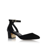 Antonia - predominant colour: black; occasions: casual, work, creative work; material: suede; heel height: mid; ankle detail: ankle strap; heel: block; toe: pointed toe; style: courts; finish: plain; pattern: plain; wardrobe: investment; season: a/w 2016