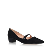 Audrina - predominant colour: black; occasions: casual, work, creative work; material: suede; heel height: mid; heel: block; toe: pointed toe; style: courts; finish: plain; pattern: plain; season: a/w 2016