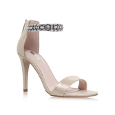 Georgie - predominant colour: blush; occasions: evening, occasion; material: faux leather; ankle detail: ankle strap; heel: stiletto; toe: open toe/peeptoe; style: standard; finish: metallic; pattern: plain; heel height: very high; season: a/w 2016
